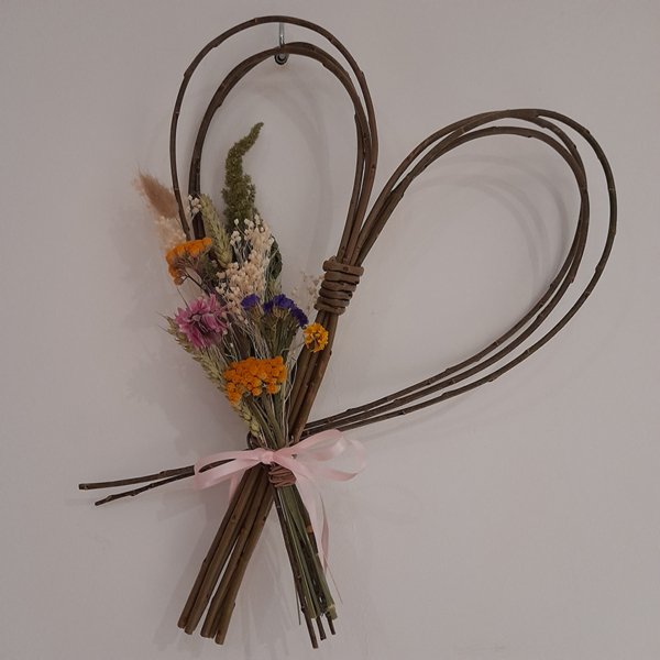 Willow Heart with Dried Flowers